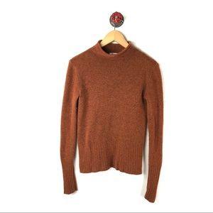 Madewell Xs turtleneck sweater burnt orange wool